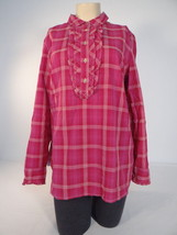 Tommy Hilfiger Fuschia Red Plaid Long Sleeve Blouse Womens NWT - $56.24