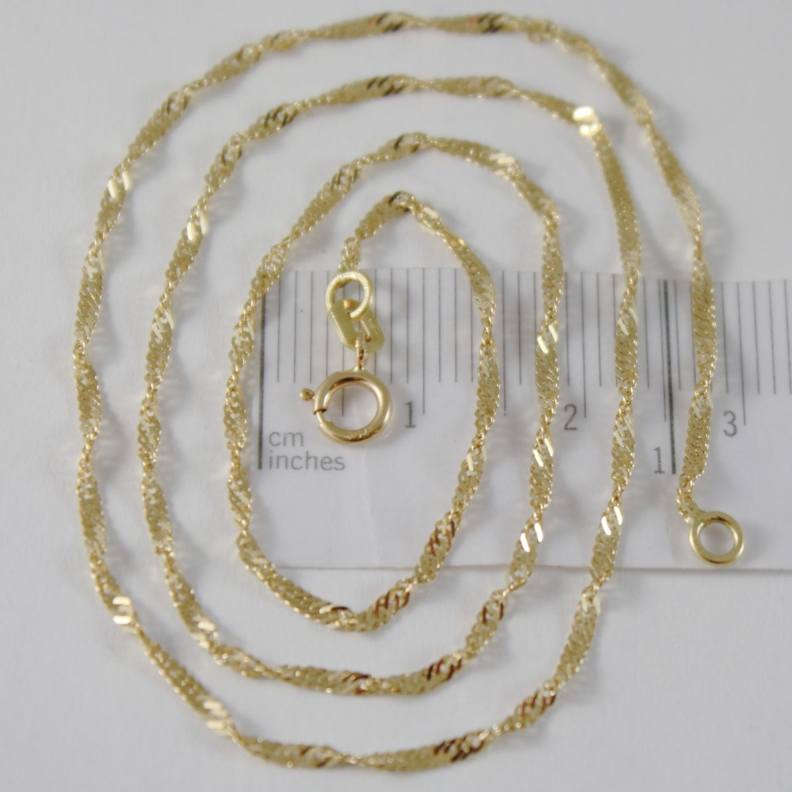 SOLID 18K YELLOW GOLD SINGAPORE BRAID ROPE CHAIN 20 INCHES, 2 MM MADE IN ITALY