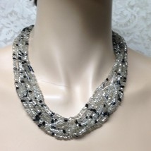 Vintage, Multi-layer, 8-Strands, 19-inch Black n Clear Glass Beaded Neck... - $11.35
