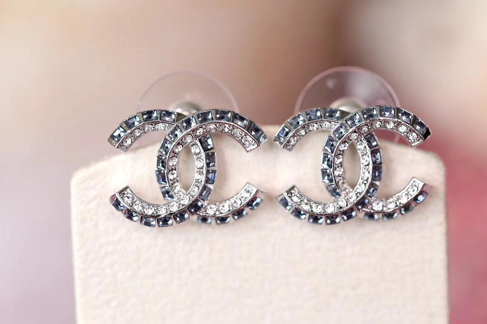 AUTH NEW CHANEL 2019 Classic CC Bi-Color Blue Crystal Silver EARRINGS