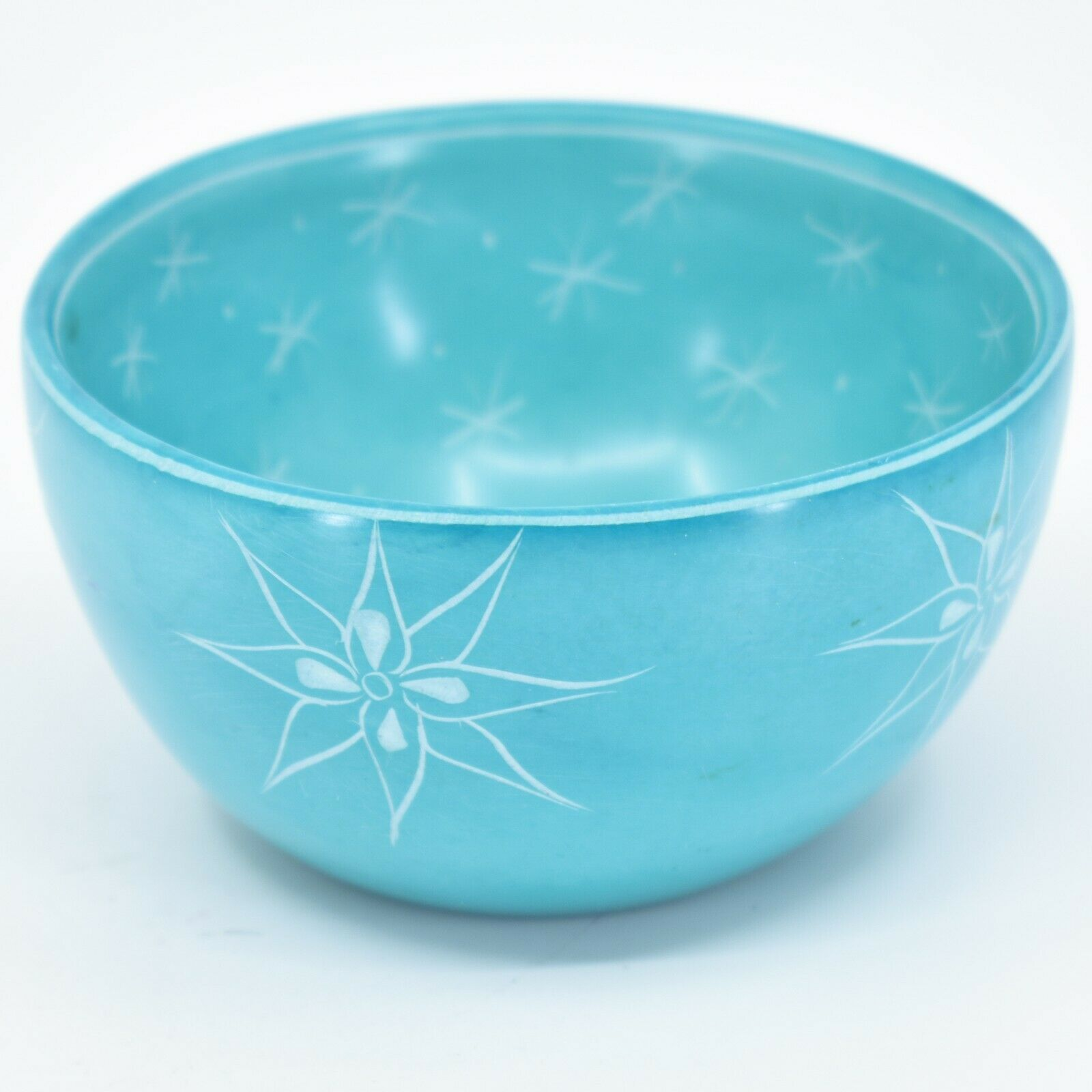 Tabaka Chigware Handmade Soapstone Blue Flower & Star Design Trinket Bowl Kenya
