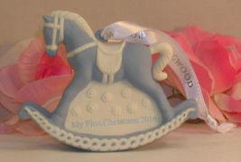 New Wedgwood Blue Jaspeware Baby 1ST First Christmas Rocking Horse Ornament 2016 image 3