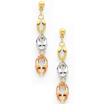 14k Designer Tri Color Hanging Dangle Drop Earrings - Push Back - $123.41