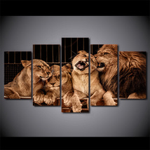 5 Pcs Lion Zoo Home Decor Wall Picture Printed Canvas Painting - $45.99+