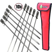 Cave Tools BBQ Skewers Set 10 - EXTRA LONG 17.3 INCH SHISH KABOB - Flat ... - $30.32
