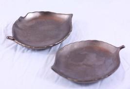 "Set of 2 RARE William Sonoma Bronze Leaf 4.5 x 6"" Mini Appetizer Dish Ma... - €33,67 EUR"