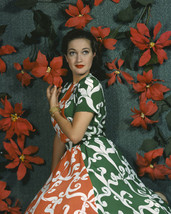 Dorothy Lamour Vintage Glamour Pose by red Flowers 16x20 Canvas - $69.99