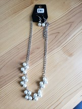 Paparazzi Long Necklace & Earring set(new)SILVER W/ PEARLS 241 - $7.69