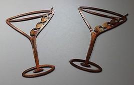 "Copper/Bronze Martini Glasses Metal Wall Art Decor Set of 2 pieces  6 1/2"" tall - $13.85"