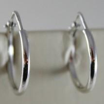 18K WHITE GOLD EARRINGS LITTLE CIRCLE HOOP 17 MM 0.67 IN. DIAMETER MADE IN ITALY image 1