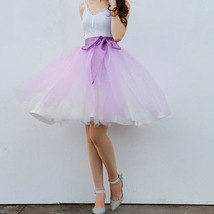 Midi Tulle Ruffle Skirt 6-Layered Ballerina Tulle Skirt Brown White image 12
