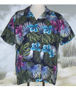 White Stag Hawaiian Shirt Blue Green Purple Palm Leaves Floral Size Large - $21.77