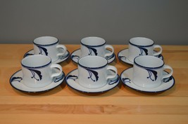 "6 Dansk Flora Bayberry Blue Tea Coffee Cups and Saucers White Blue Japan 9"" - $27.99"
