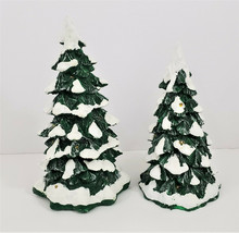 Village Lighted Snow Capped Trees Dept 56 Set of 2 - $21.37