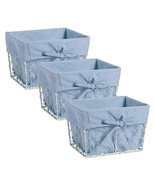 DII Chicken Wire Basket Antique White Removable Fabric Liner, Set of 3, ... - $35.11