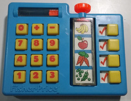 Fisher Price Shopping Calculator Grocery Fruit Vegetable 917 Vintage 198... - $14.84