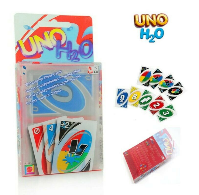 Primary image for UNO H2O Card Game Splash Waterproof Clear PVC No 1 Family Fun Playing Card Game