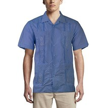 Alberto Cardinali Men's Guayabera Short Sleeve Cuban Casual Dress Shirt (M, Fren