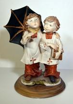 """10"""" Vintage Capodimonte Porcelain Statue Cute Altar Boys Friends w/ Umbr... - $47.49"""