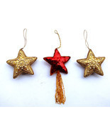 3 Home Decor Xmas New Classic Christmas Febric Stars Ornament Tree Hangi... - $18.51