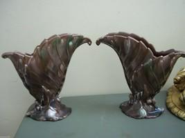 2 Matching Vases Royal Haeger Royal Hickman Porcelain Beauties Mauve W Green Tint - $61.88