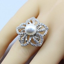 925 Sterling Silver Natural Freshwater Pearls White Zircon AAA+ Quality Jewelry  - $28.48