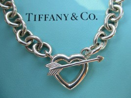 100% Genuine vintage Tiffany & Co. heart arrow toggle necklace - sterling silver - $287.93