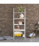 Ladder Bookcase Storage Five Shelves White Classic Elegant Wood Decorati... - $75.99