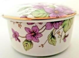 Lefton Lidded Trinket Box Purple Flowers 1991 Geo Lefton Japan - $23.38
