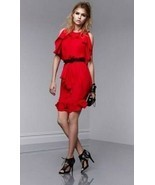 Prabal Gurung Ruffled Layered Chiffon Dress - Apple Red - Women's US 4 - $32.47
