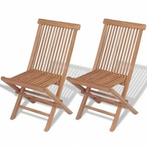 vidaXL 2x Patio Teak Folding Chairs Wood Outdoor Bistro Garden Seating Seat - $83.99