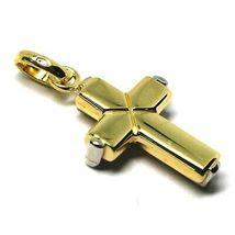 Colgante Cruz de Oro Blanco y Blanco 18K 750 Estilizado Hecho en Italia Joya image 3