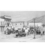 UTAH Salt Lake City Busy Main Street Wagons Cows - 1883 German Print - $16.20