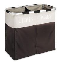 Double Laundry Washing Hamper Basket Storage Clothes Bin Foldable Sorter... - $16.38