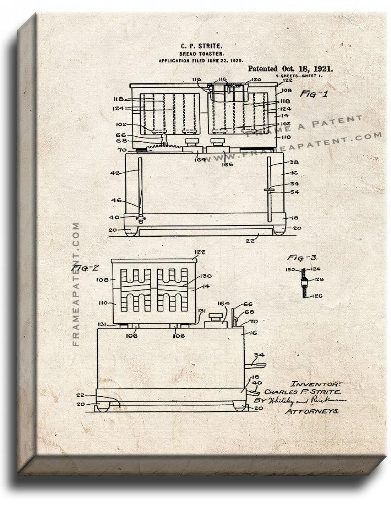 Primary image for Bread Toaster Patent Print Old Look on Canvas