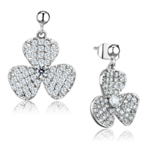 Women's Brass CZ Clear Flower Dangle & Drop Earrings - $29.90