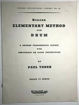 Vintage 1935 Rubank Elementary Method for DRUMS Sheet Music Book Paul Yo... - $9.49