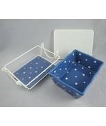 Temp-tations by Tara Blue Polka Dot Casserole Baking Dish Lid Rack Trivet 1 Qt  - $21.73