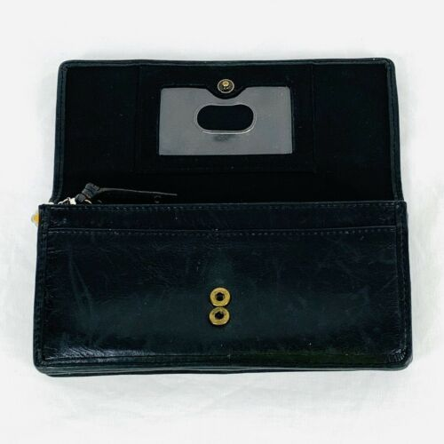 """Fossil Organizer Envelope Wallet Clutch Black Leather Hearts Embossed 7"""" x 4""""  image 3"""
