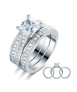 1.5 Ct Princess Cut Solid 925 Sterling Silver 3-Pcs Engagement Bridal Ri... - $149.99