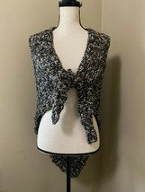 NEW Handmade Shawl Scarf Wrap Crochet Knit Boho Black Brown Sequin Sparkle - $25.15