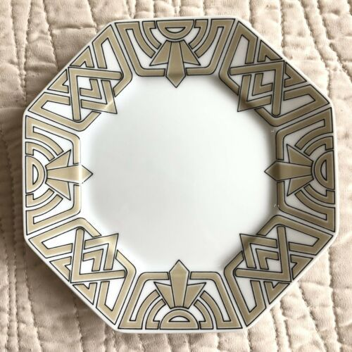 "Primary image for Fitz & Floyd The Ritz Taupe Bread Butter Plates 6.25"" Octagon Geometric Deco"