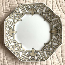 "Fitz & Floyd The Ritz Taupe Bread Butter Plates 6.25"" Octagon Geometric ... - $11.87"