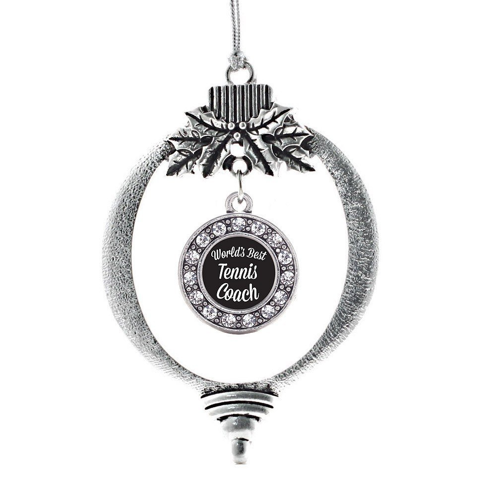Primary image for Inspired Silver World's Best Tennis Coach Circle Holiday Christmas Tree Ornament