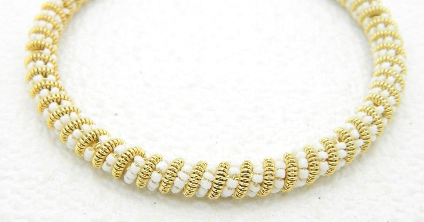 VTG Gold Tone White Glass Bead Twist Bangle Bracelet image 3