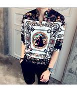 Camisa Masculina Vintage Palace Men Silk Shirts Mens Dress Royal Social ... - $73.77+
