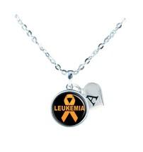 Custom Leukemia Blood Cancer Awareness Ribbon Silver Necklace Jewelry Initial - $13.94