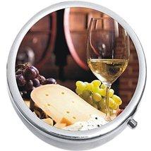 Wine Cheese Medicine Vitamin Compact Pill Box - $9.78