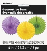 "Purple Yellow Green Mardi Gras 3Ct Mini 6"" Paper Decorative Fans - $3.13"
