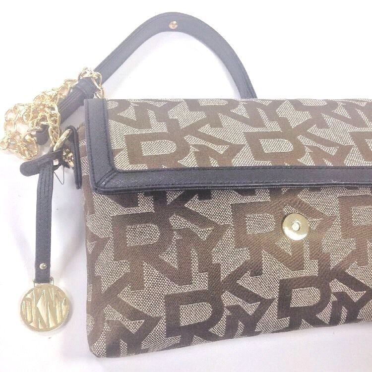DKNY Donna Karan Brown Canvas Embossed, Leather Trim Shoulder Bag Small Handbag